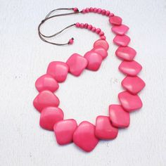 Pink Statement Necklace made of Tagua  Pink Bead Necklace   https://www.etsy.com/listing/202929246/pink-statement-necklace-made-of-tagua