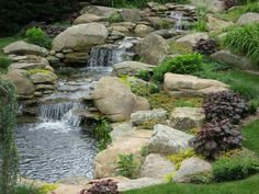 Waterfall and garden pond - Traditional - Garden - Bridgeport - by Matthew Giampietro Garden Design Sloped Backyard, Backyard Water Feature, Ponds Backyard, Koi Ponds, Backyard Ideas, Backyard Waterfalls, Garden Ponds, Garden Ideas, Pond Design