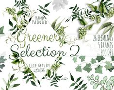 Greenery 2 Watercolor Clip Art by DioFlow on Business Illustration, Pencil Illustration, Watercolor Illustration, Graphic Illustration, Clipart, Woodland Wedding Invitations, Wedding Stationary, Template Brochure, Magnolia Leaves