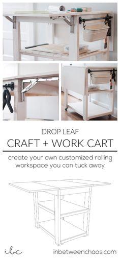 Finition Bois Machine à Coudre Craft Table Drop Leaf étagères de réserve armoires