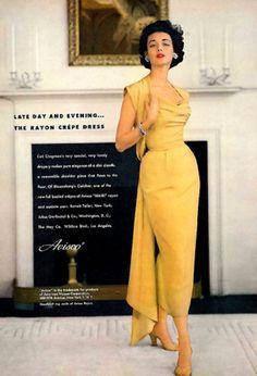 Ceil Chapman gold evening gown in a 1955 Avisco fabric advertisement  featuring modelDorian Leigh