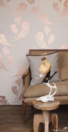 New Metallic Wallpaper Living Room Decor 17 Ideas Deco Harry Potter, Living Room Decor, Bedroom Decor, Bedroom Ideas, Living Rooms, Rose Gold Wallpaper, Feather Wallpaper, Copper Wallpaper, Beautiful Wallpaper