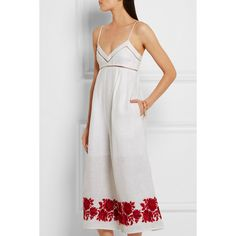 Zimmermann Roza embroidered linen jumpsuit ($545) ❤ liked on Polyvore featuring jumpsuits, summer jumpsuits, embellished jumpsuit, white jumpsuit, white wide leg jumpsuit and linen jumpsuit
