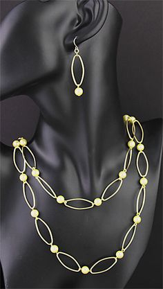 Simply Whispers Jewelry Necklace Earring Set gold open wire oval and cream pearl 42 inch continuous necklace and French hook earring