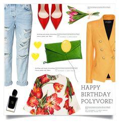 """Celebrate Our 10th Polyversary!"" by marina-volaric ❤ liked on Polyvore featuring Dolce&Gabbana, Balmain, Pretty Lavish and Giorgio Armani"