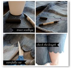 Scalloped Shorts DIY, but with black pants