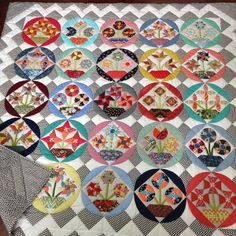 """My third finish for 2015. I loved Amitie and Jen Kingwell's Bring Me Flowers BOM. I used two layers of batting and machine quilted it on my Bernina. It…"""