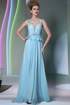 2014 Athens Style Straps A Line Sweep Train Chiffon&Lace Prom Dresses #30959 (Color Just As Picture Show)