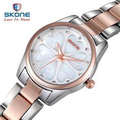 SKONE Fashion Luminous Dress Women Watches Top Brand Luxury Gold Quartz Watch Ladies Heart Emboss Watch Relogio Feminino Hodinky
