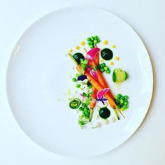 Roasted/glazed carrots with onion/leek purée, parsley gel, green peas, zucchini and red pickled onions.