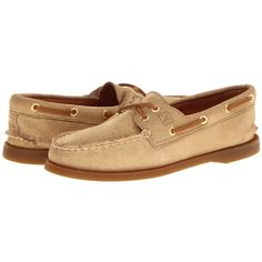 Sperry Top-Sider A/O 2 Eye Women's Lace up casual Shoes, Gold ($55) ❤ liked on Polyvore