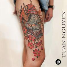 @tuantattoo @inkatattoolyon chez INK'A TATTOO LYON #hannya #hannyatattoo #hannyamask #colortattoo #neojap #neojapanesetattoo #inkatattoolyon #flowertattoo #sakuratattoo Inka Tattoo, Hannya Tattoo, Lyon, Watercolor Tattoo, Tattoos, Tattoo Art, Tatuajes, Tattoo, Watercolour Tattoos