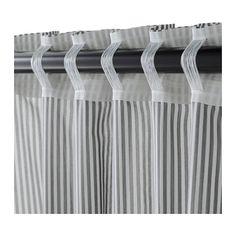 GULSPORRE Curtains, 1 pair, white, gray white/gray 57x98-ALEXS ROOM