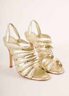 Gold Metallic Strappy Leather Slinback Heeled Sandals