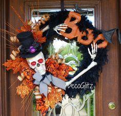 MR. BONES BOO Halloween Weath by decoglitz on Etsy