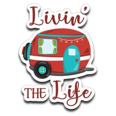 A cute and funny decal design for Camping Lovers! Livin' The Life, with a fun and colorful vintage RV travel trailer with a string of lights. The decal is fairly small at approximately 3 x 2 inches. The decal is high-quality Avery Dennison scuf Camping Signs, Diy Camping, Camping Life, Camping Hacks, Camping Ideas, Camping Stuff, Camping Cabins, Camping Packing, Family Camping