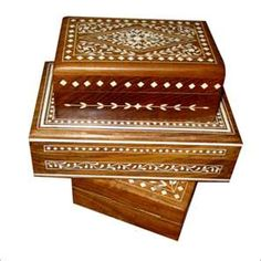 Indian inlaid jewelry boxes