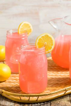 homemade fresh pink lemonade
