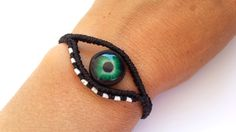 Items similar to Protection Eye Bracelet, Macrame Bracelet, Evil Eye Bracelet, Evil Eye Macrame Bracelet on Etsy Macrame Jewelry, Macrame Bracelets, Polymer Clay Beads, Handmade Polymer Clay, Alpha Patterns, Evil Eye Bracelet, Micro Macrame, Handmade Accessories, Jewelry Crafts