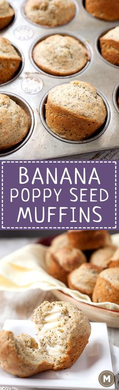 Banana Poppy Seed Muffins: These easy muffins are half banana bread and half poppy seed muffin. They don't need as much sugar as some muffins because of the ripe bananas. They are perfectly fluffy and great with a little butter. Kids love them! | macheesmo.com