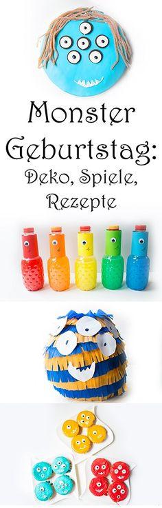 Monster Geburtstag: die schönsten Spiele, DIY Deko und Rezepte für Kinder. Kindergeburtstag Ideen. DIY Pinata, Kuchen und Spielideen