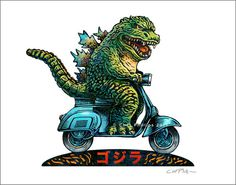 Fast and Furious 11 x 14 Signed Print Kaiju on a Vespa by ChetArt Flotsam And Jetsam, Scary Monsters, Fast And Furious, Godzilla, Large Prints, Vivid Colors, Signs, Cello, Priority Mail