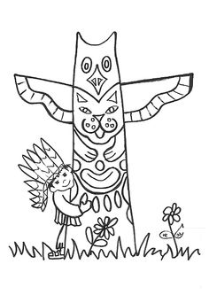 indian totem pole coloring pages | Thema Indianen on Pinterest | Knutselen, Totem Poles and ...