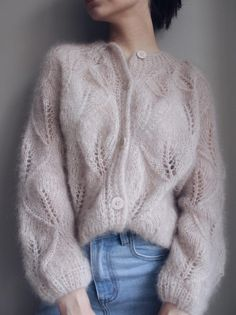 Mohair Cardigan, Lace Cardigan, Knit Cardigan Pattern, Jumpsuit Pattern, Knit Cowl, Gros Pull Mohair, Knit Fashion, Fashion Fashion, Knit Patterns