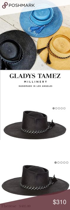 """Gladys Tamez Millinery Therese Hat Gladys Tamez does it again with this gorgeous creation, the Therese hat. Retails at $405.00. Panama Straw w/ silver and black braided leather band w/ tassels. Not even sure I want to part with this beauty, so price is firm. Condition is worn but great. Color is a faded black.   Measurements:  Brim - 4""""  All Gladys Tamez Millinery pieces are handmade in Los Angeles California using a blend of Western and European traditional artisanal millinery techniques…"""