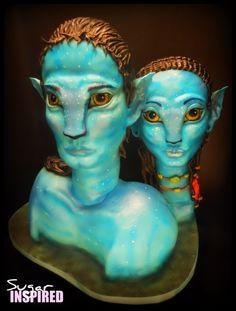 Sculpted 3D AVATAR cake Avatar Jake and Neytiri CAKE!