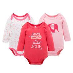 3-Pack Cute Cotton Baby Girl Onesies Long Sleeve Pink & Red