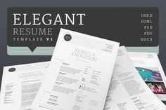 Elegant Resume/CV --- A beautiful, clean and well organised resume/cv template with a lighter, more elegant theme than most resume templates. Resume Pdf, Resume Tips, Resume Ideas, Cv Template, Resume Templates, Design Templates, Business Brochure, Business Card Logo, Design Typography