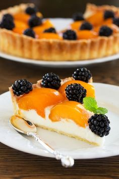 tart with peaches and blackberries.