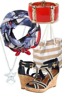 Nautical Accessories - #necklace #shoes #bracelet #bag #scarf