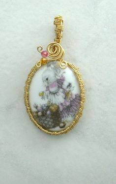 Porcelain Bunny Wire Wrapped Pendant | AussenWolfDesigns - Jewelry on ArtFire