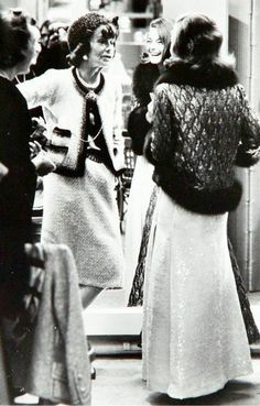 Coco Chanel and Romy Schneider in the dressing room of Maison Chanel, photo by Milton Greene, Paris, 1962