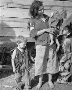 Mom In Flour Sack W Children Depression 8x10 Reprint Of Old Photo