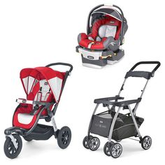 This product set includes the KeyFit 30 Infant Car Seat, The Activ3 Jogging Stroller, and the Caddy Stroller. Perfect for active moms!