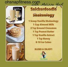 Snickerdoodle Shake - using Vanilla Shakeology. Find it at: shake-o dot com Thrive Shake Recipes, Herbalife Shake Recipes, Protein Shake Recipes, Smoothie Recipes, Protein Shakes, Milkshake Recipes, Drink Recipes, Keto Shakes, Nutribullet Recipes