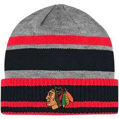 18246b27f Men s Chicago Blackhawks adidas Gray Team Logo Cuffed Knit Hat