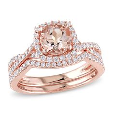 6.5mm Morganite and 3/4 CT. T.W. Diamond Square Frame Bridal Set in 14K Rose Gold - Save on Select Styles - Zales