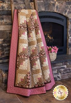 Curvy Log Cabin Quilt Kit - Chalk & Timber Designed by Shabby Fabrics Log Cabin Quilt Pattern, Log Cabin Quilts, Vintage Quilts, Vintage Fabrics, Fabric For Sale Online, Log Cabin Designs, Shabby Fabrics, Custom Quilts, Book Quilt