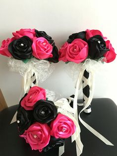 Pink & Black Satin Ribbon Rose diamanté Wedding by CuriousPetals