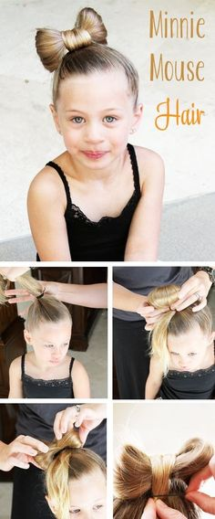 Minnie Mouse Hair Tutorial for kids! Okay so Lucy won't have enough hair for this for um...years probably but hey- that will not stop me from pinning! by Kasbro