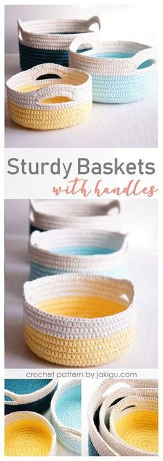 If you love practical crochet projects, you will love these sturdy crochet baskets with handles. They are perfect size to store store toys, to organize baby clothes, or to keep diaper change essentials handy yet concealed. The largest is big enough to hold a bunch of bananas and a couple of