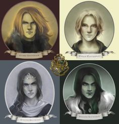 Harry Potter. The Founders of Hogwarts. Godric Gryffindor, Helga Hufflepuff, Rowena Ravenclaw and Salazar Slytherin.