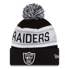 New Era NFL Oakland Raiders Black Grey White Cuffed Knit Beanie Cap with Pom 0e7124858