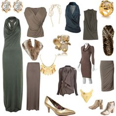 Switch out the gold jewelry and shoes for muted gold or silvered and these are all winners for a Soft Summer Deep.