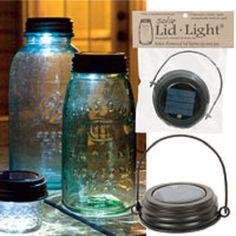 Hanging Solar Mason Jar Lid Light with Rustic Brown Lid