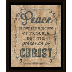 Presence Of Christ Distressed Ornate Border Religious Typography Tan & Blue, Framed Canvas Art by Pied Piper Creative, Brown
